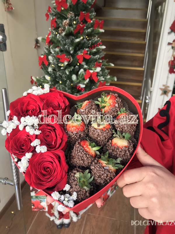Heart shaped box with 5 roses