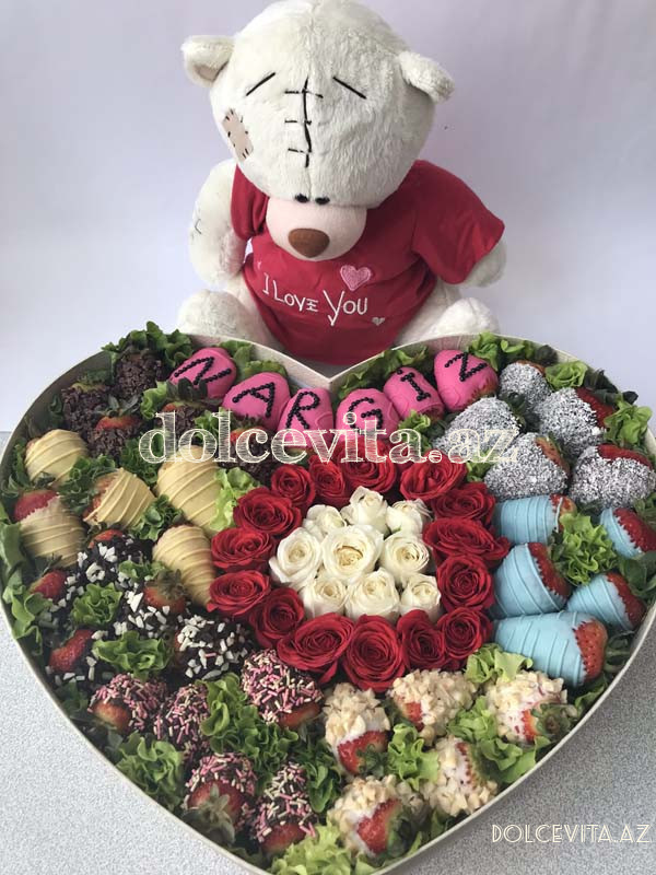 Named heart shaped box with spray roses M size