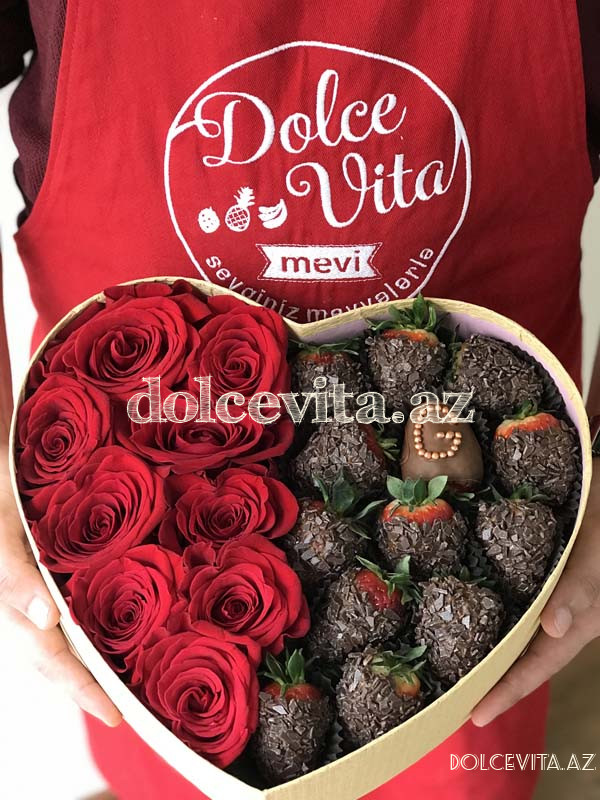 Heart shaped box with 9 roses