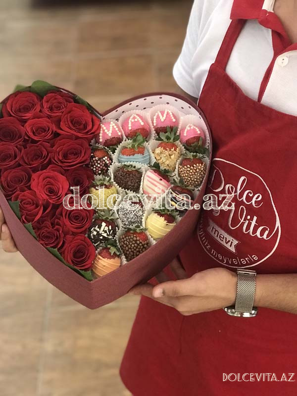 Heart shaped box with 15 roses